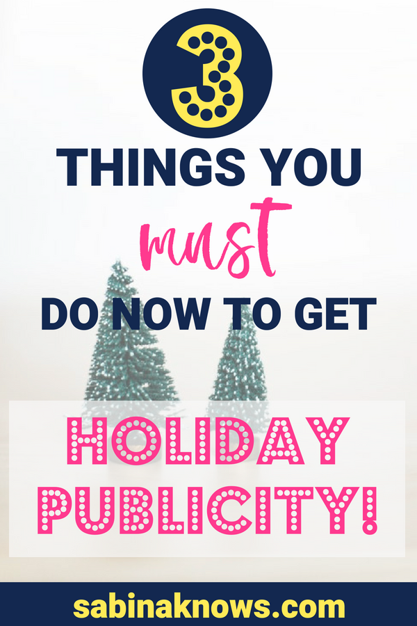 Start working now to get your business or product featured in magazines, gift guides, or on TV for the holidays! Here's how to get started on your holiday PR efforts. PR | public relations | holiday coverage | holiday press | publicity | gift guides
